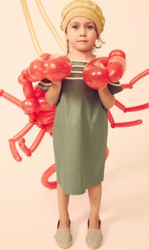 Kicokids girl green dress trimmed with Broderie Anglaise for kids fashion spring 2011