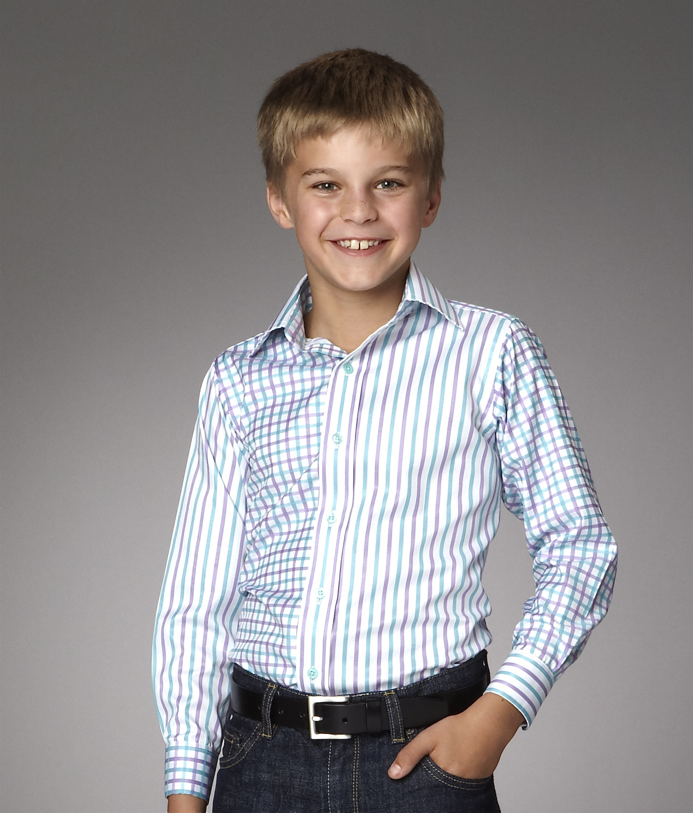 Grosvenor mixed stripe and check children's shirt