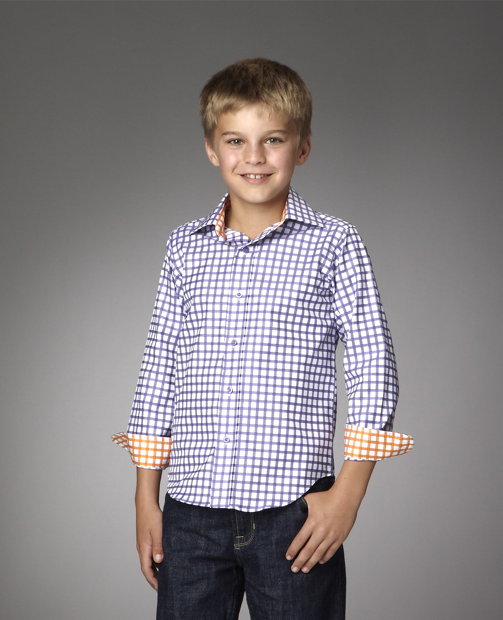Grosvenor shirt for boys in purple check