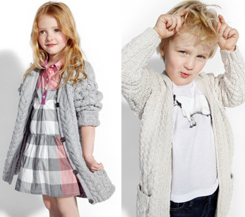 Grey and stone chunky cotton knits for Burberry spring 2011 kids fashion