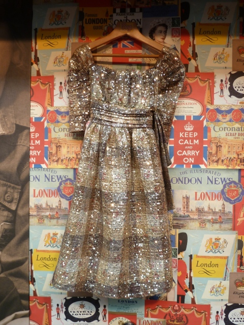 Gold sequin vintage look dress for girls by Burgs at Bubble London for winter 2011
