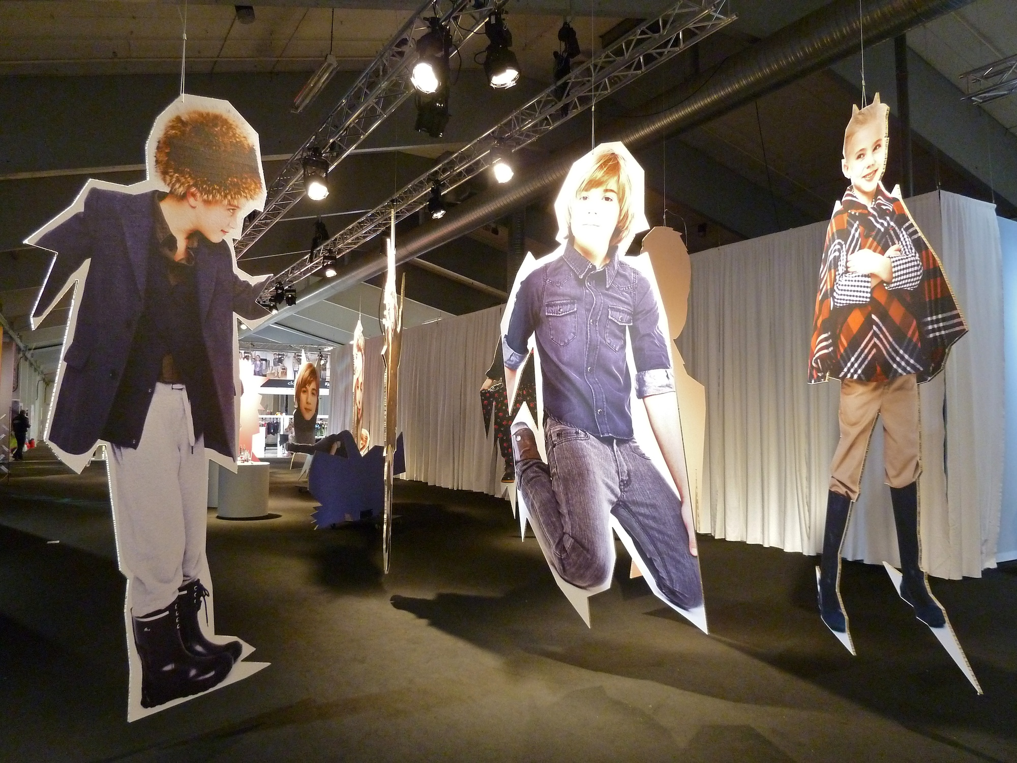 Giant cut out display of trend directions at the CIFF Kids catwalk venue for winter 2011