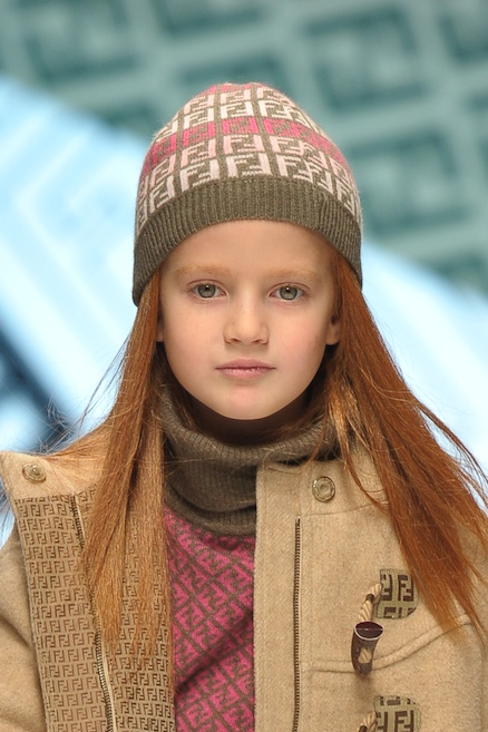 Logo mania for beanies at Fendi for kidswear winter 2010