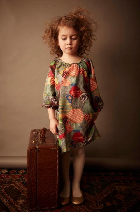Kicokids patchwork effect dress in fine wool for kids fashion winter 2011