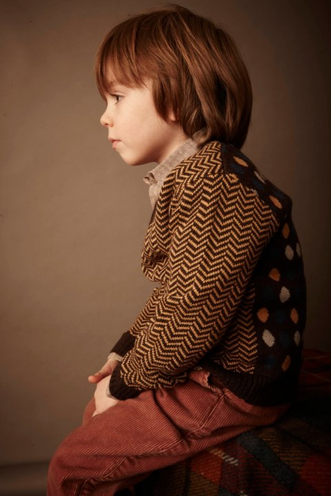 Kicokids boys herringbone and spotted mix sweater for winter 2011
