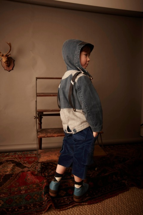 Kicokids boys jacket with suspender attachment and cool sloppy velvet trousers