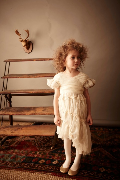 Kikokids beautiful draped empire style tulle dress for childrenswear winter 2011
