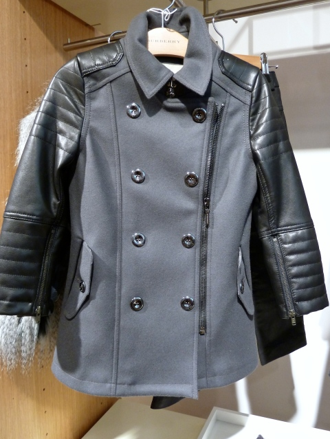 Cool wool and leather biker coat also has a matching leather biker jean from Burberry kids winter 2011