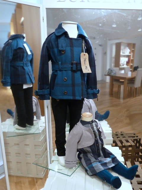 Mini Me wool check coats for children's fashion at Burberry winter 2011 previews