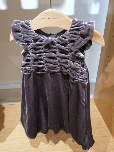Sweet shirred velvet baby dress for winter 2010 at Burberry kidswear
