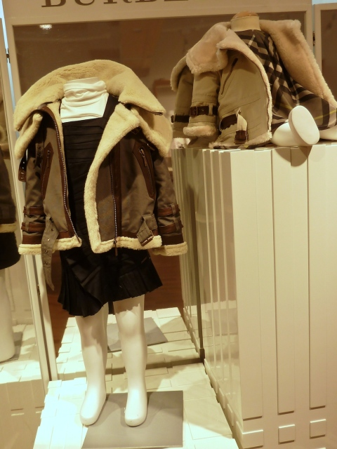 Mock shearling aviator jackets, true to Burberry signature styles for kids collection winter 2011