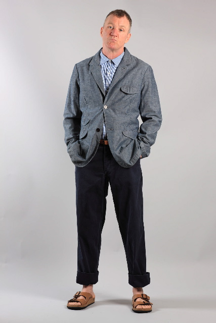 Cool tailored denim blazer jacket by Universal Works for summer 2011