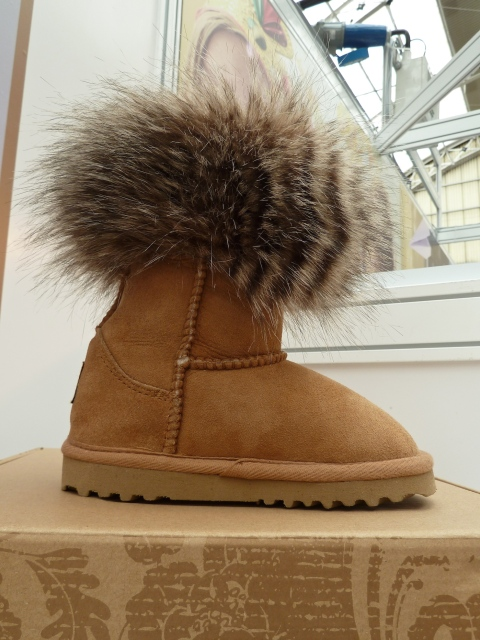 Faux fur trim on shearling boot by Love from Australia for kids footwear 2012 at Bubble London