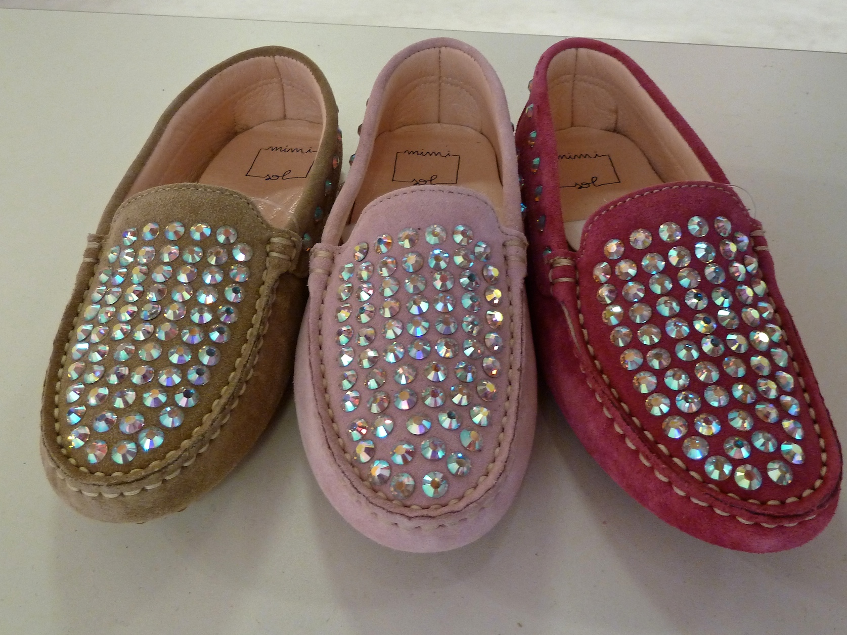 Wow would I like a pair of these, soft suede crystal studded loafers by Mi mi sol for summer 2012 kidswear