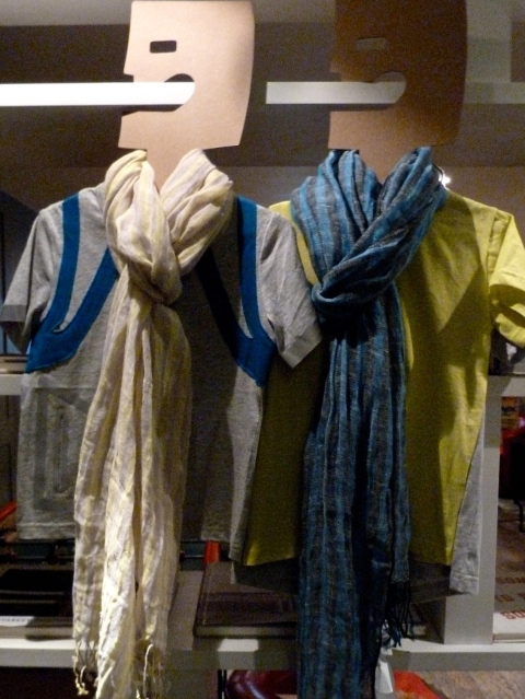 Great loose linen scarves co-ordinate with T-shirts at Kicokids for summer 2012 kidswear