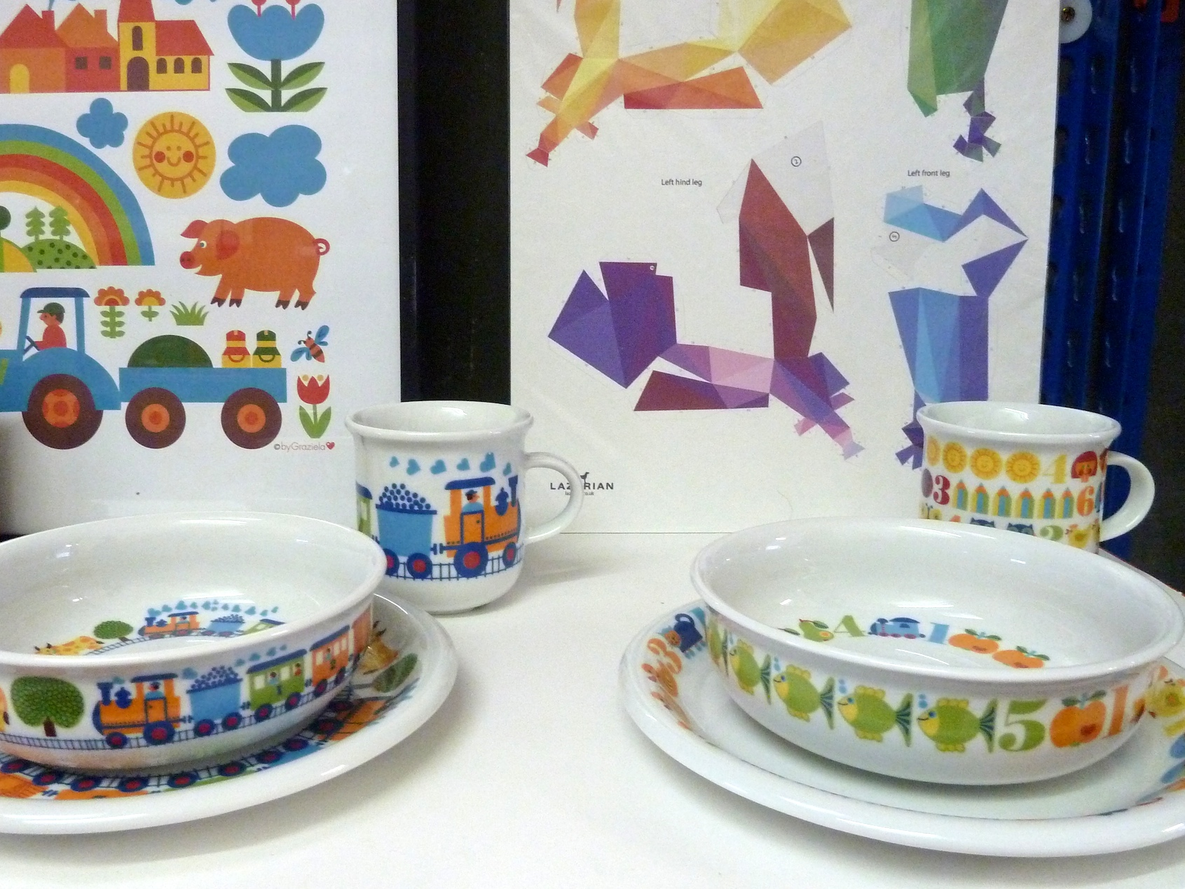 By Graziela 1970's patterns on children's tablewear and posters at Theo online store for winter 2011
