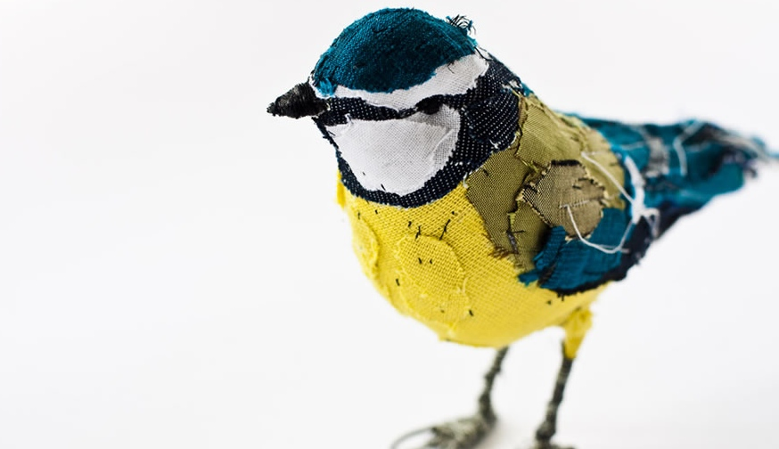Abigail Brown blue tit bird at Selvedge Dry Goods