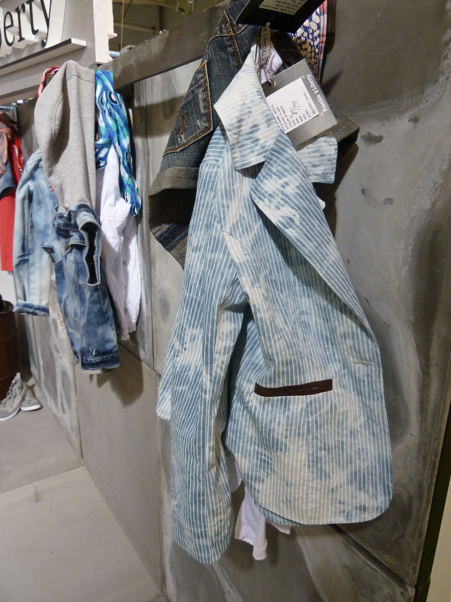 Distressed pinstripe denim jacket for kidswear summer 2012 by Frankie and Liberty at Ciff Kids