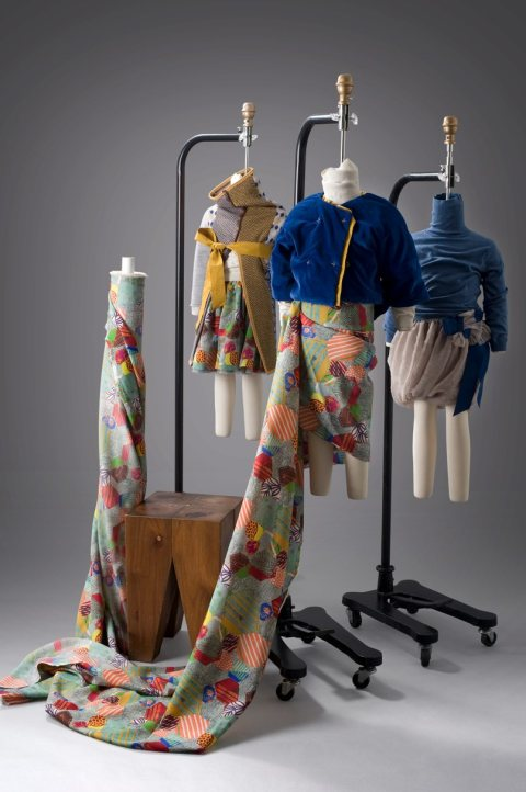 Patchwork print and velvet pea coat  by Kicokids for Anthropologie winter 2011