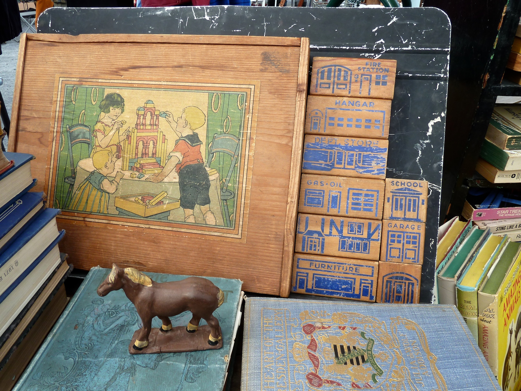 Vintage block toys at Brooklyn Flea market