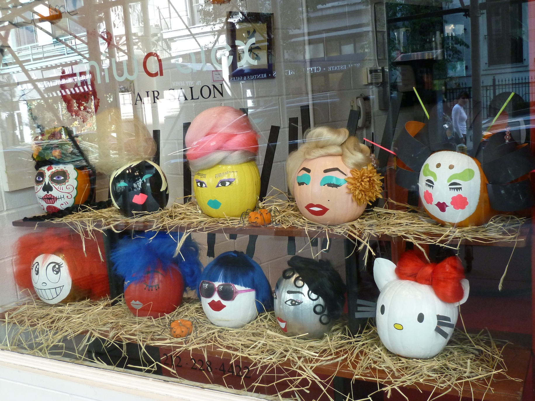 Loving the decorated pumpkins at this Midtown Manhattan hair salon