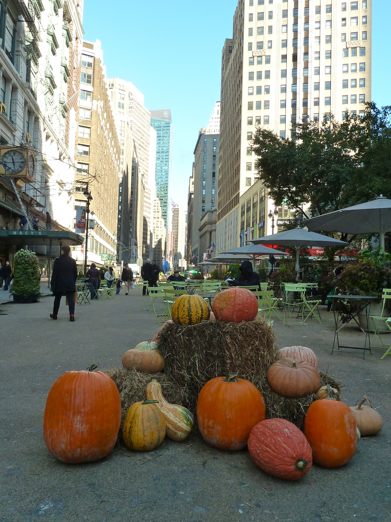 Pumpkins and straw at Herald Square look more Harvest Festival than Halloween