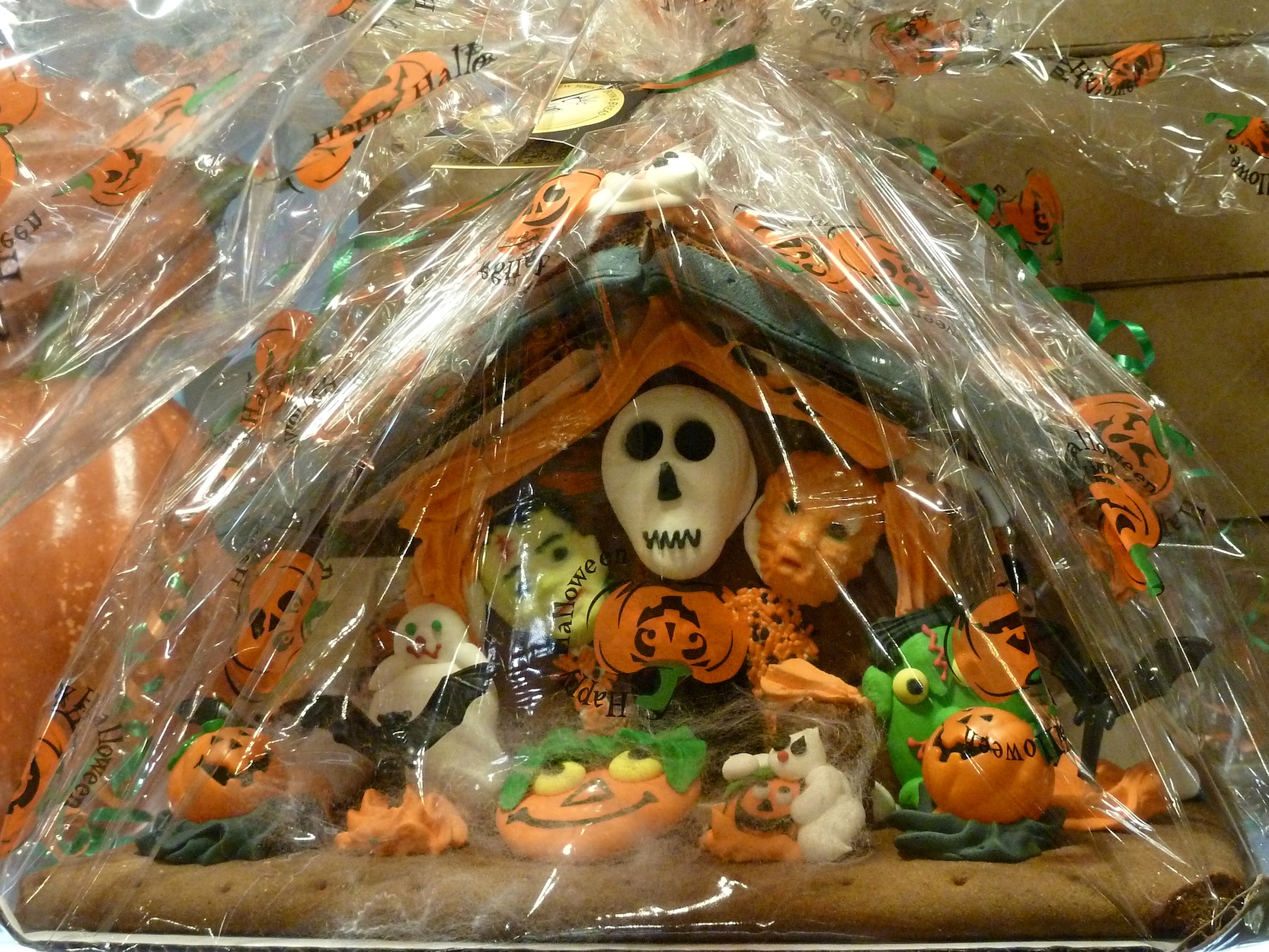 The gingerbread house is not just for Christmas, decorated Halloween house in New York's Grand Central station