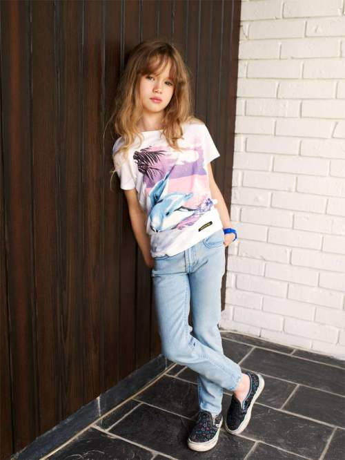 Soft pastel Dolphin print for girls tee shirts from Finger in The Nose