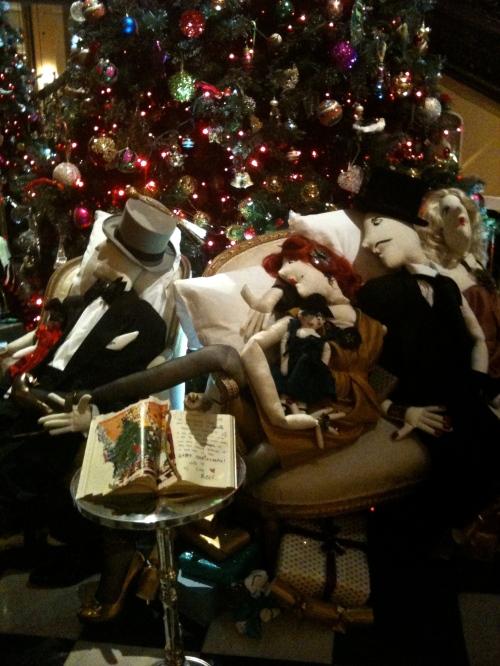 Cloth mannequins around the Lanvin Christmas tree at Claridges November 2011