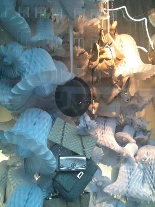 I love the giant paper bell and handbags display in Selfridges for Xmas 2011
