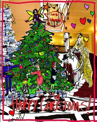 Lanvin sketch by Alber Elbaz of Claridges 2011 Christmas tree