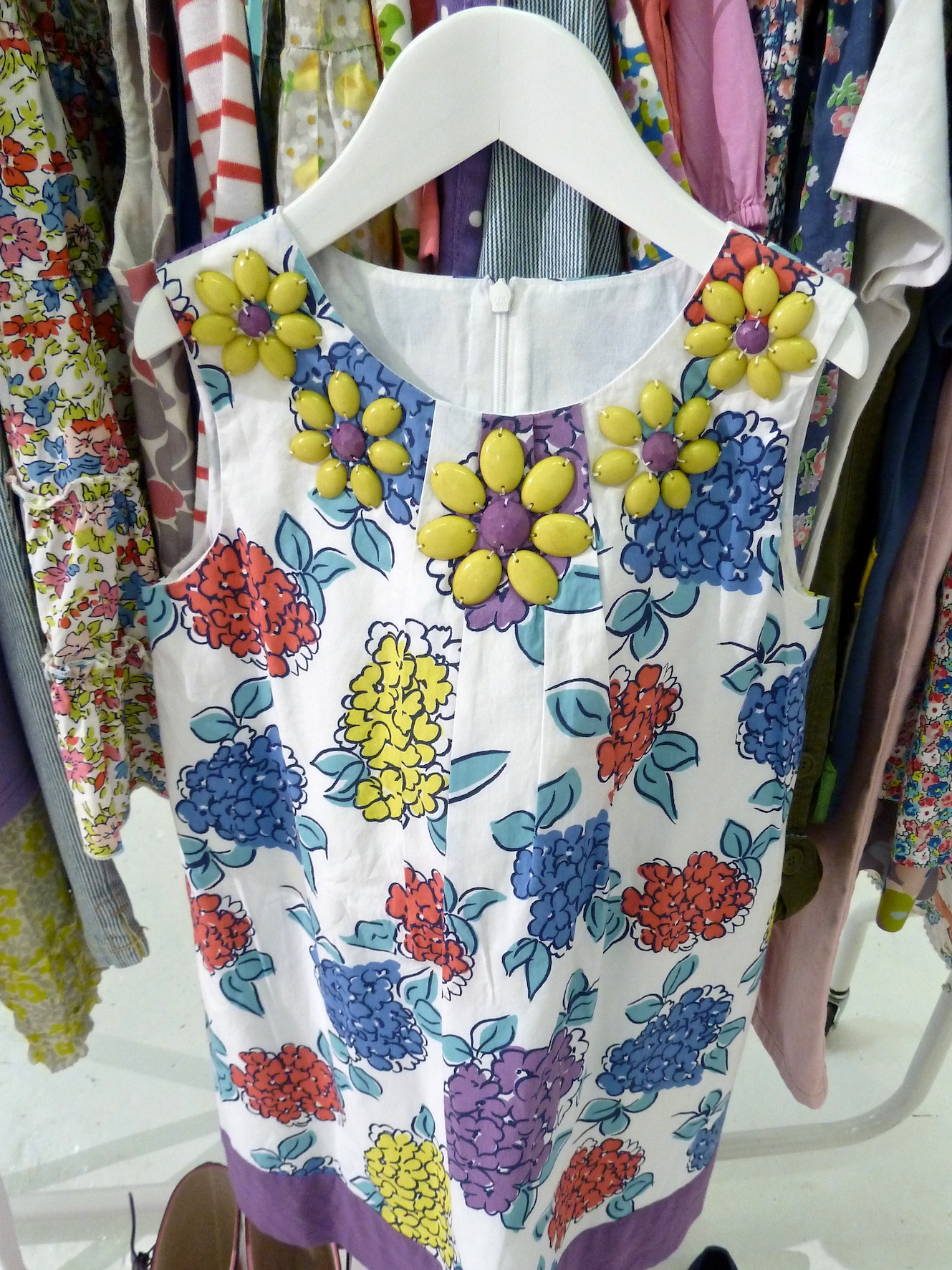 Beaded decorated necklines for girlswear reflect the womens lines at Boden for summer 2012