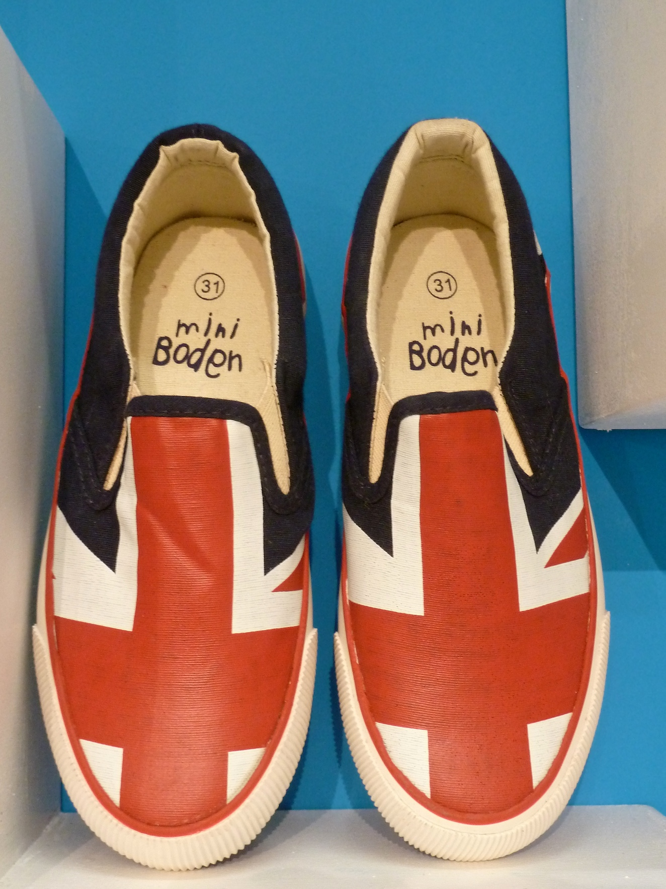 Flag slip on boys shoes for Olympic year from Mini Boden