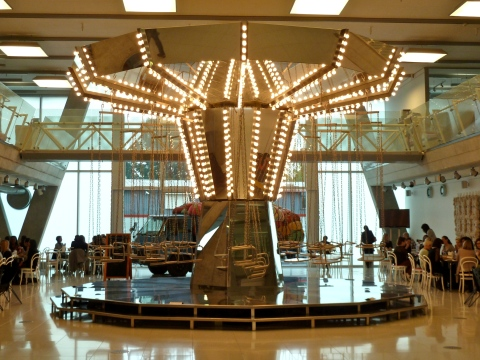 The Carsten Holler mirrored carousel in the Monsoon reception area