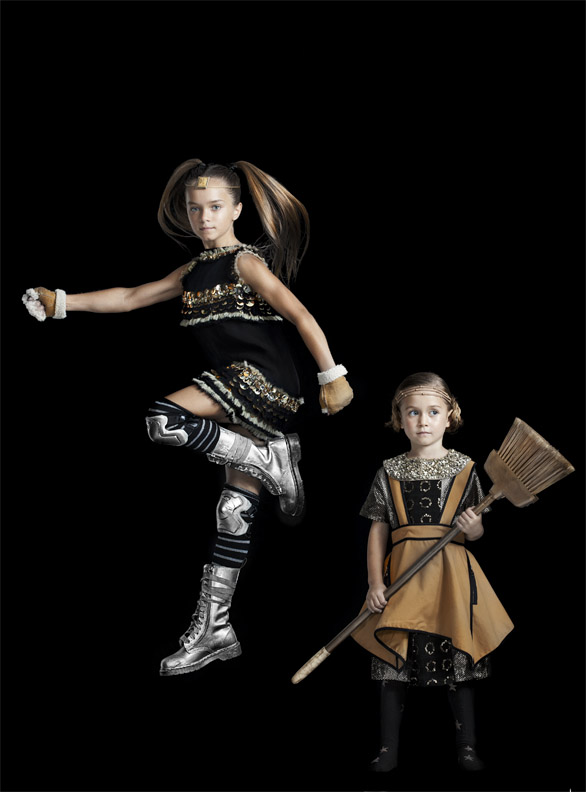 Amelia and Carrie as Spartan Warriors, children's fashion story by Mindi Smith and Drew Sackheim Oct 2011