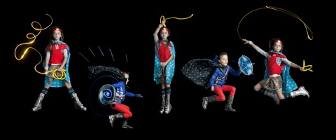 Cali as Wonder Woman and Julian as Captain America, children's fashion story by Mindi Smith and Drew Sackheim Oct 2011