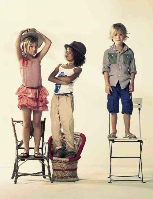 """The ruffled rara skirt and trilby hats, it looks very 80""""s styling from American Outfitters Kids for summer 2012 children's fashion"""