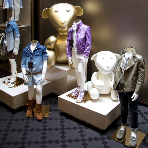 Gucci shows sport luxe for spring 2012 children's fashion with short leather jackets and faded denim