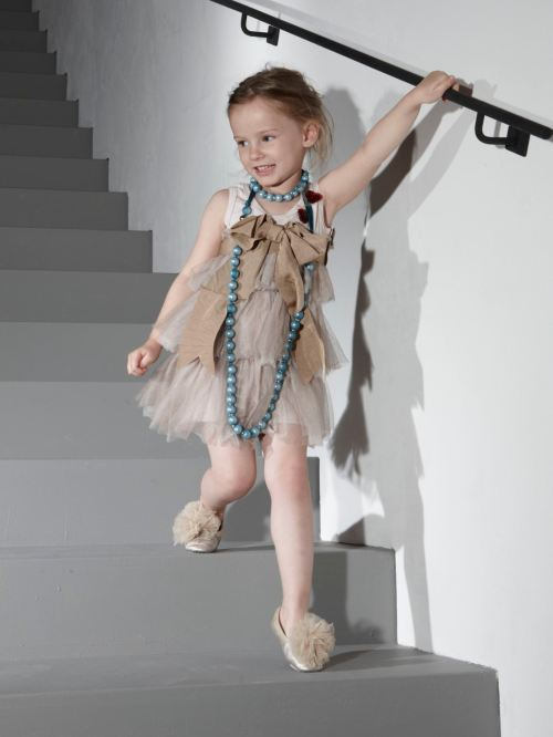 Lanvin childrenswear with giant beaded necklace, perfect party dress style for summer 2012
