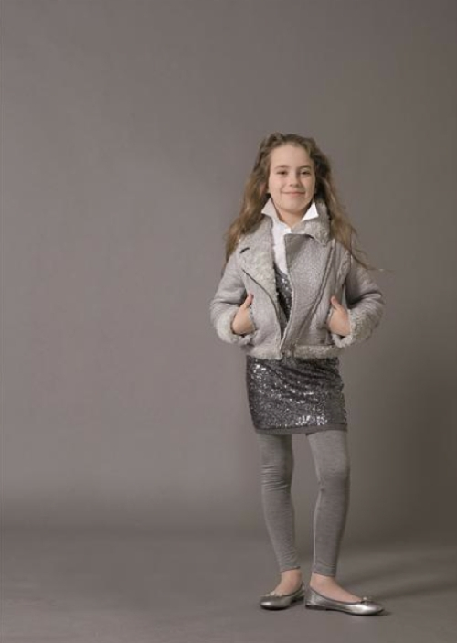 Miss Blumarine Jeans look with hot winter trends for kidswear in metallics and sequins