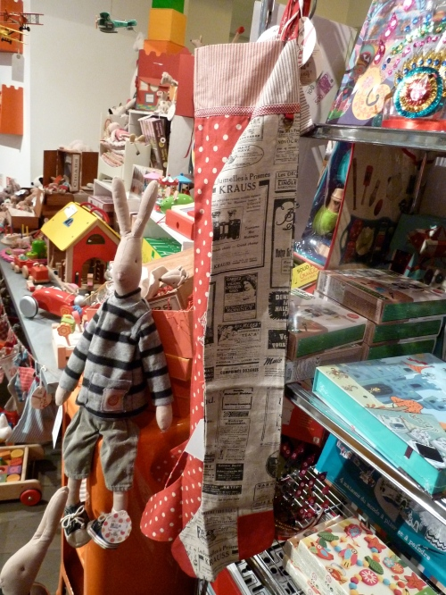 A cornucopia of gifts are stacked on the shelves
