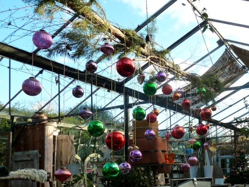 There is a return to colour for glass bauble tree decorations this winter at Petersham Nurseries