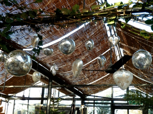 Star imprints and engravings for silver baubles in spheres and heart shapes at Petersham Nurseries