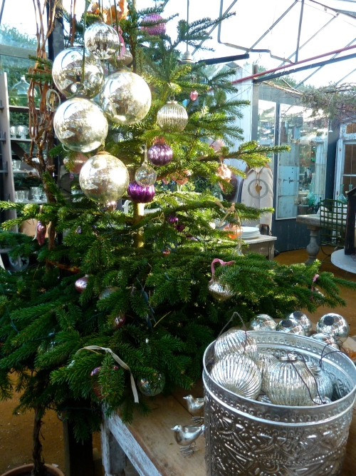 Silver very large baubles at Petersham Nurseries for Christmas 2011