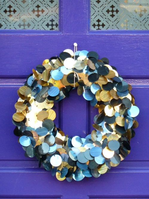 I love this very unusual shimmering sequin Christmas wreath
